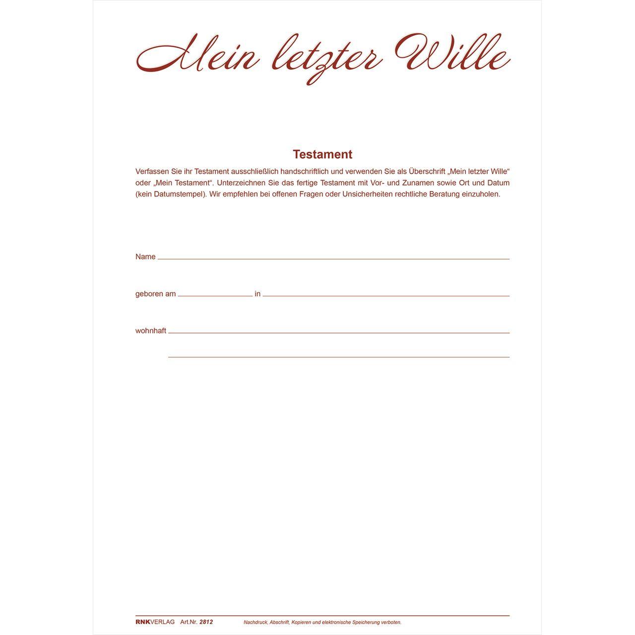 Einfaches Testament Muster Vorlage Zum Download 5