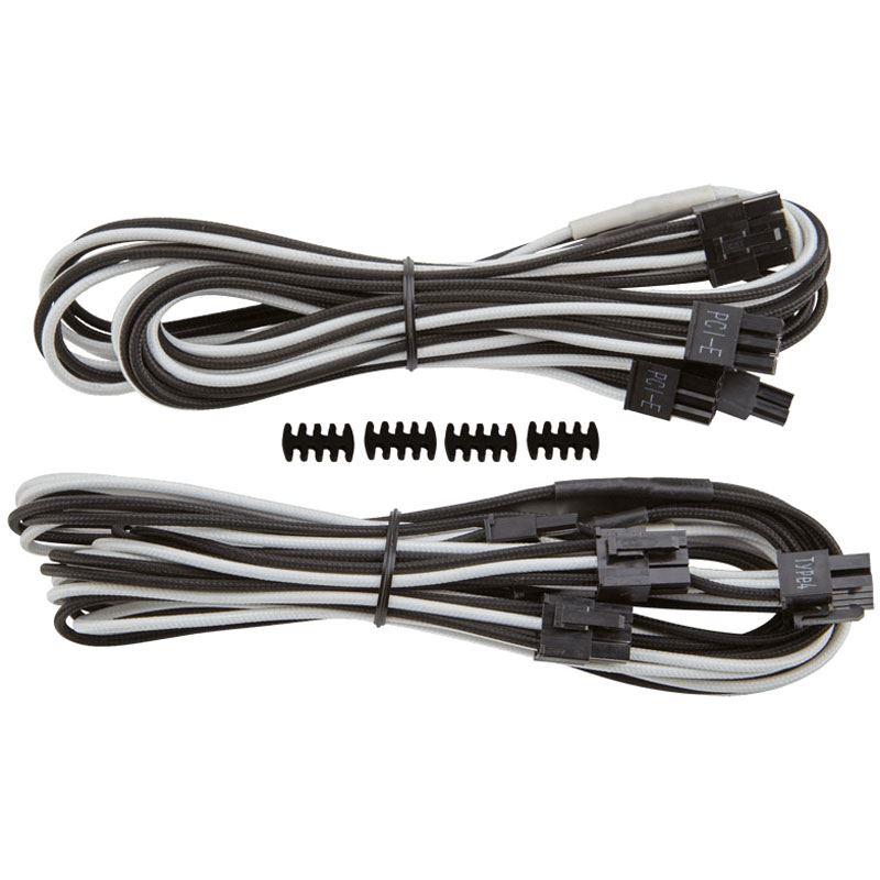 Corsair Premium Sleeved PCIe Dual-Kabel Doppelpack weiß/schwarz ...