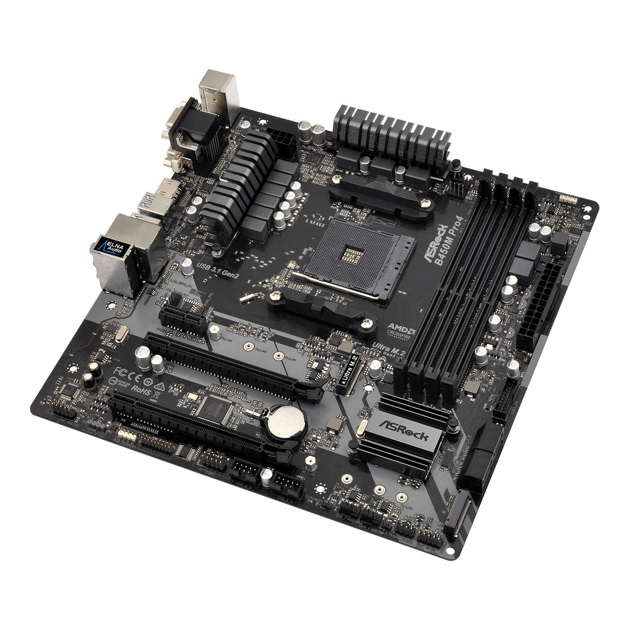 ASRock B450M Pro4 AMD B450 So AM4 Dual Channel DDR4 mATX Retail