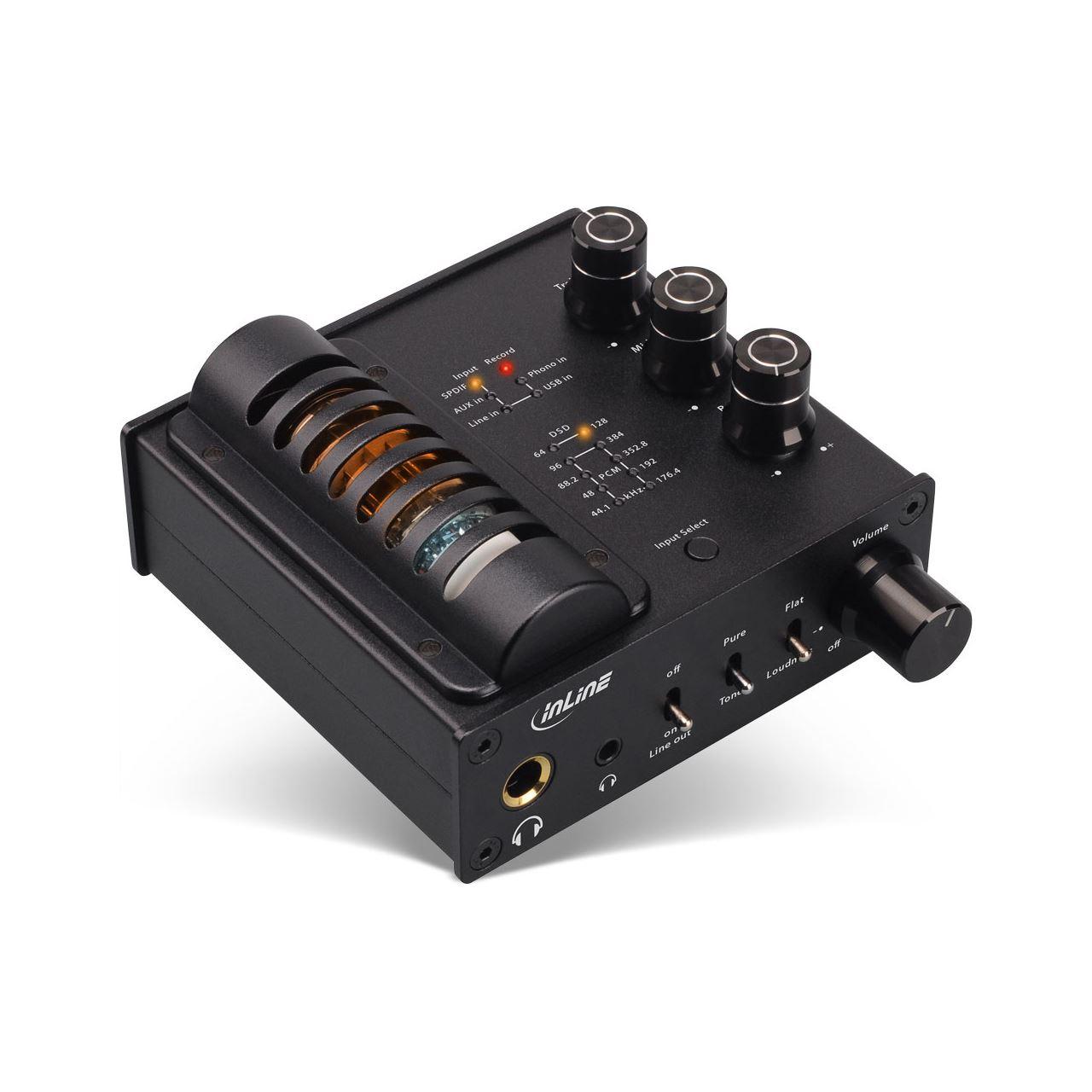 InLine AmpUSB-EQ, Hi-Res AUDIO HiFi DSD  Kopfhörer-Röhrenverstärker+Equalizer, USB DAC