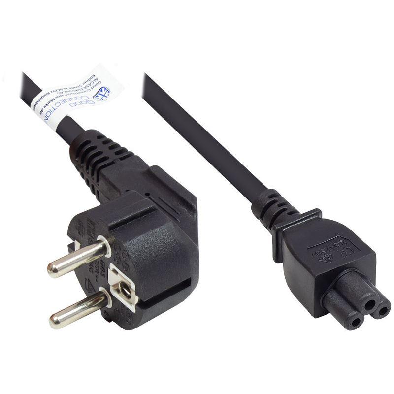 Schutzkontakt auf IEC 320-C5 Buchse abgewinkelt  schwarz Netzanschlusskabel