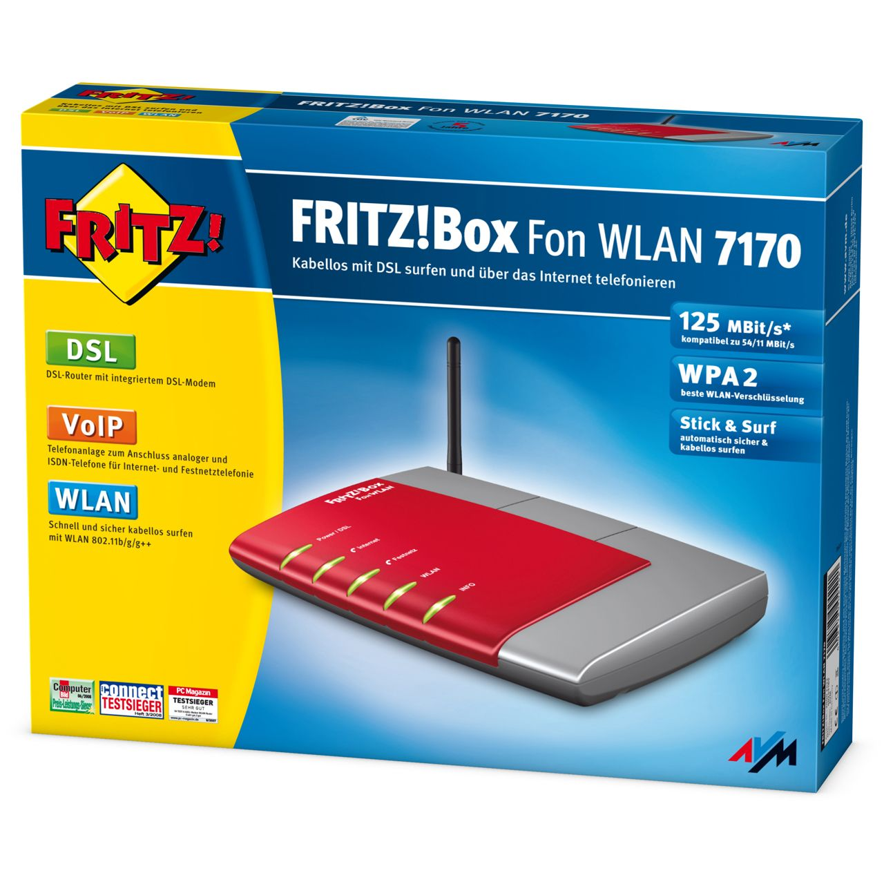 AVM FRITBox 7170 4 Port Router 125Mbit/s - WLAN Router + Modem ...