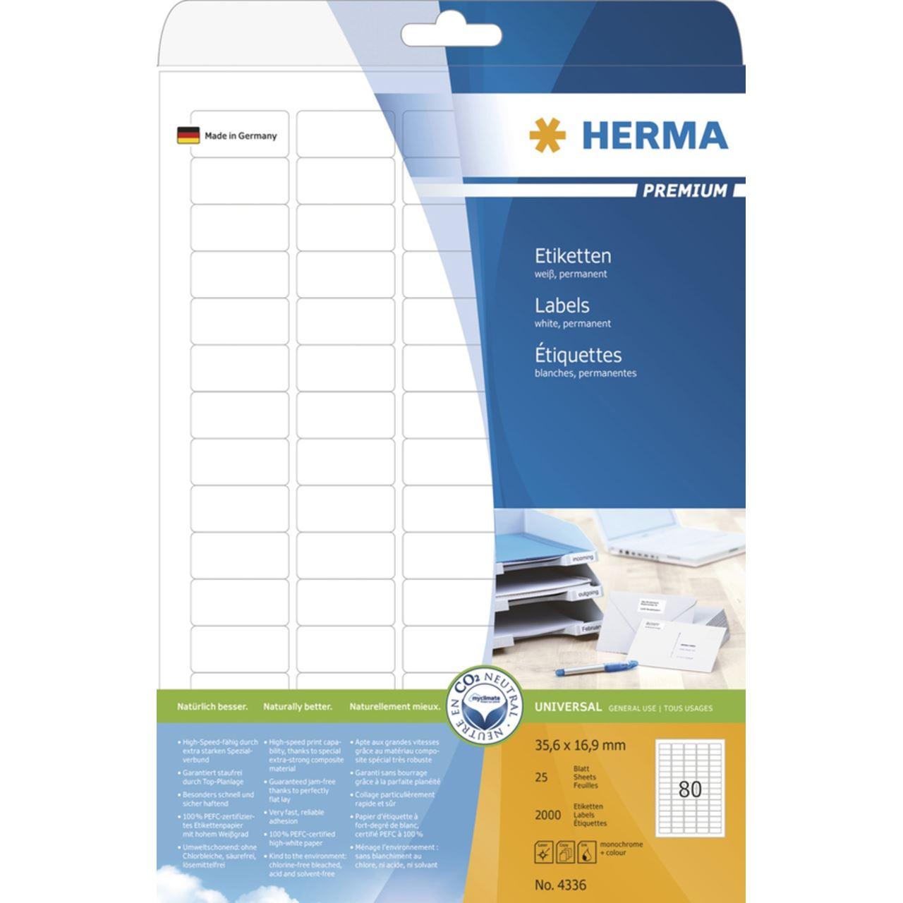 25 Blatt 2000 Etiketten Herma 4336 Premium Universal-Etiketten 3.56x1.69 cm