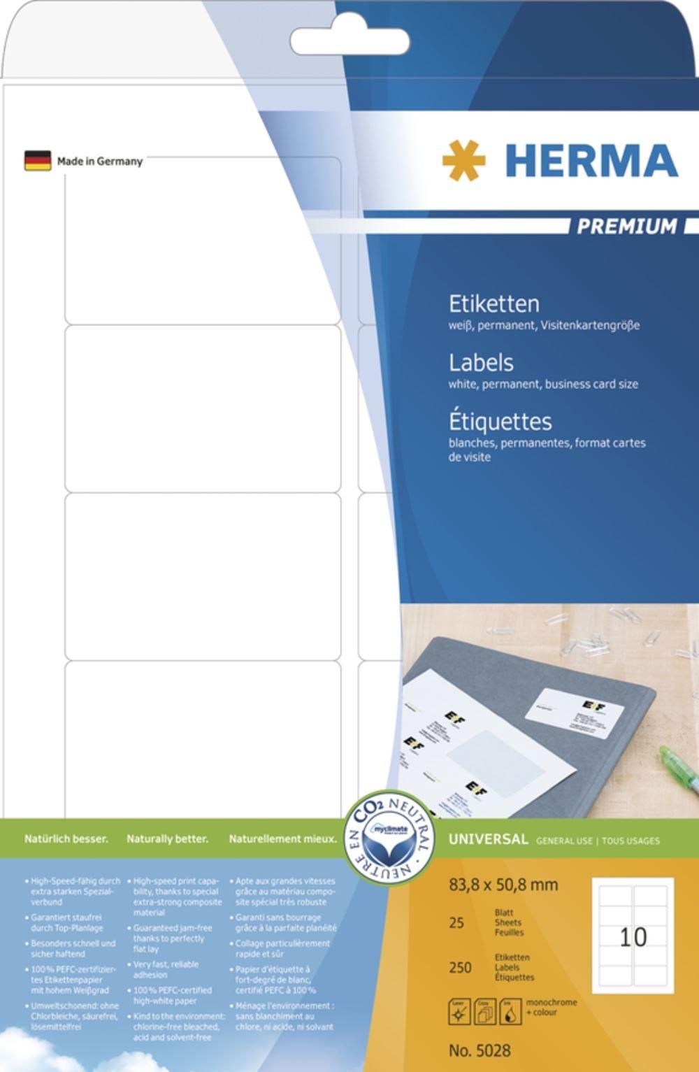 250 Stück weiß Herma 5028 Etiketten Premium A4 Papier matt, 83,8 x 50,8 mm