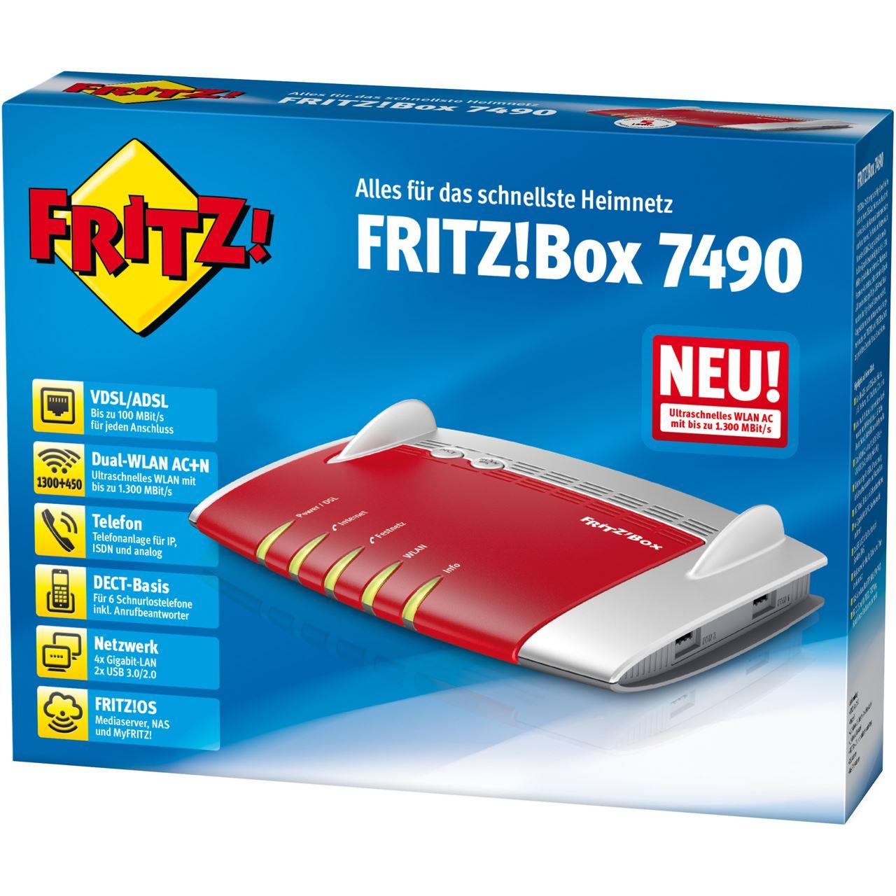 avm fritz box 7490 wireless router modem 20002584. Black Bedroom Furniture Sets. Home Design Ideas