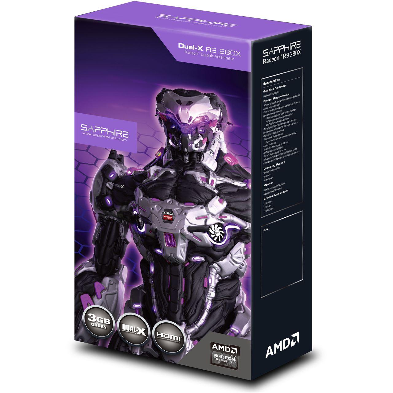 3GB Sapphire Radeon R9 280X Dual-X Aktiv PCIe 3 0 x16 (Lite Retail)