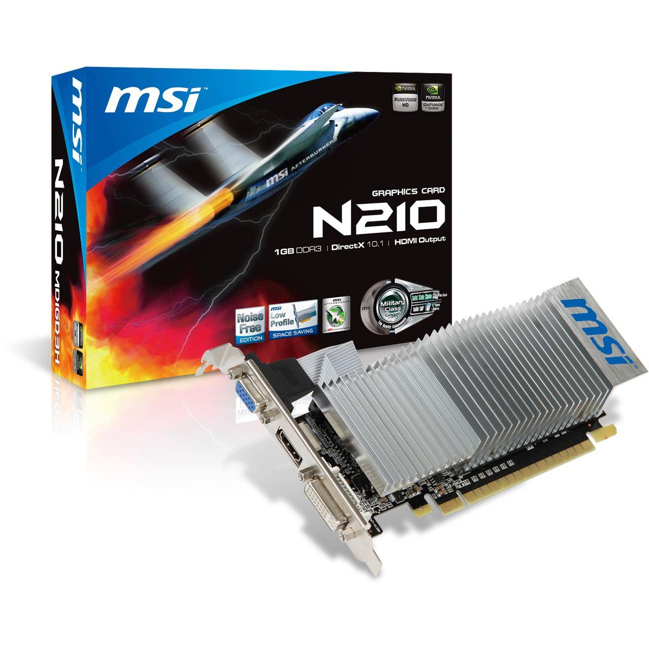 1GB MSI GeForce 210 Low Profile Passiv PCIe 2.0 x16 (Retail) - G 210 ...