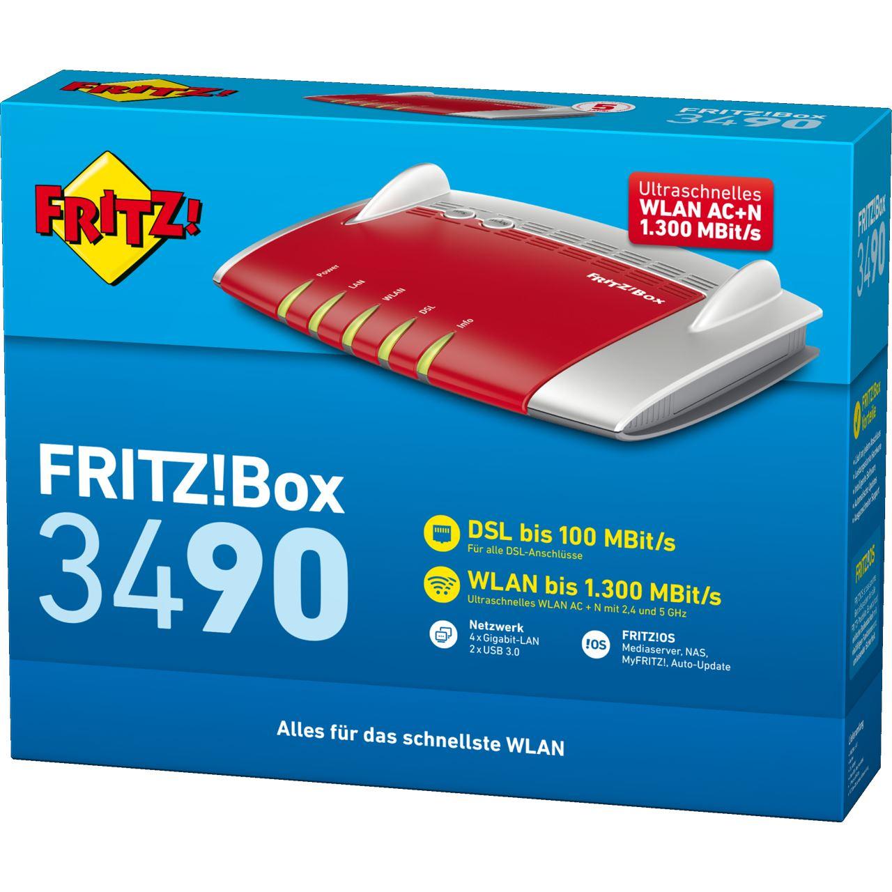 AVM FRITZ!Box 3490 Wireless Router + Modem (20002680) - WLAN ...